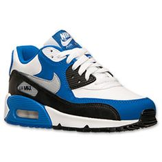 Boys' Grade School Nike Air Max 90 Running Shoes | Finish Line | White/Wolf Grey/Hyper Cobalt