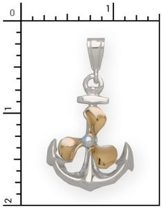 Sterling Silver Anchor charm with 14Kt. Gold Propeller