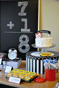 """Too Cool for School party--for those nerdy kids who love school. :-) Or use these great ideas for a back to school party. I like the """"school photos""""!"""