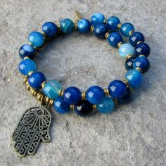27 bead mala bracelet, made with genuine blue agate, hand made brass African…