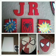 Spiderman theme for my son's room! Easy and simple!  Paint canvases and construction paper! Big spiderman head is a foam board ($1 @ micheals) with construction paper peices!
