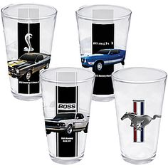Collection celebrates 50 years of Ford's iconic pony cars!  Boxed set of 4 glasses makes a great gift or collectible for the Mustang enthusiast. $26.98