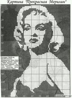 Famous people Marilyn Monroe cross stitch.