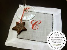 Stamped Cocktail Napkin DIY Instructions    Stamped Cocktail Napkin DIY Instructions