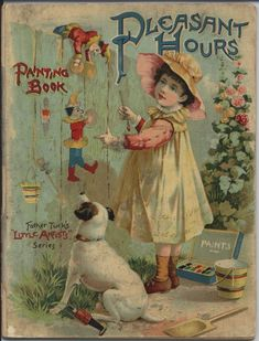 Pleasant Hours Painting Book ~ Father Tuck's Little Artist Series Victorian Books, Vintage Children's Books, Antique Books, Vintage Cards, Vintage Postcards, Vintage Images, Victorian Christmas, Vintage Ephemera, Postcard Book