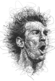 World Cup 2014 by Vince Low, via Behance - ink portrait - drawing - ink drawing
