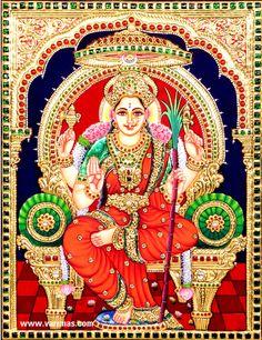 Raja Rajeswari Tanjore Painting, RAJA RAJESWARI / KAMATCHI Tanjore Painting