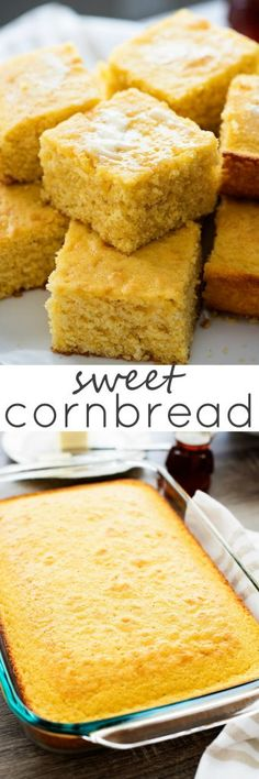 The most amazing cornbread you'll ever taste! So moist, sweet and delicious. Not to mention easy to make! The most amazing cornbread you'll ever taste! So moist, sweet and delicious. Not to mention easy to make! Sweet Cornbread, Cornbread Recipes, Cornbread Cake, Homemade Cornbread, Sweet Bread, Pain, Thanksgiving Recipes, Love Food, Baking Recipes