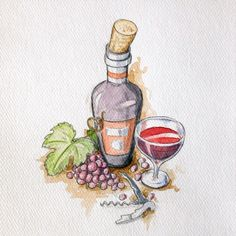 """""""And another one . In vino veritas  #illustration #watercolor #wine #grape #invinoveritas #art #arts_help #theartslovers #freshart #baigart…"""""""