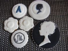 cameo and monogram cookies