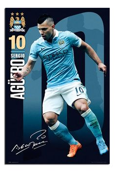 Manchester City FC Aguero 2015 / 16 Poster