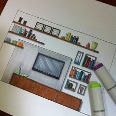 Marvelous Home Design Architectural Drawing Ideas. Spectacular Home Design Architectural Drawing Ideas. Interior Architecture Drawing, Architecture Drawing Sketchbooks, Interior Design Renderings, Architecture Concept Drawings, Drawing Interior, Interior Rendering, Interior Sketch, Architecture Design, Sketches Arquitectura