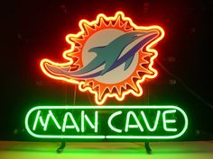 NEW MIAMI DOLPHINS MAN CAVE NFL FOOTBALL REAL GLASS NEON LIGHT BEER BAR PUB SIGN