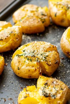 This Smashed Potatoes recipe is a quick and easy side dish if you are entertaining or great for a weeknight meal too! These potatoes baked with a garlic butter and then topped with Parmesan cheese. They are perfectly crispy on the outside and fluffy on the inside. You will love this Smashed Potato #recipe #potato Potato Sides, Potato Side Dishes, Side Dishes Easy, Side Dish Recipes, Dinner Recipes, Food Network Recipes, Real Food Recipes, Cooking Recipes, Cake Recipes