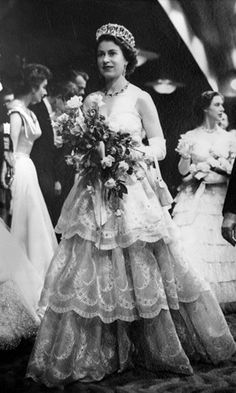 The Queen attends the film premiere of 'Rob Roy' in 1953.
