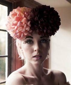 ON SALE POM POM flower Headband bright fun bridal by Fumbalinas, £10.00
