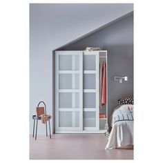 IKEA KVIKNE Wardrobe - Sliding Doors in White Color. Sliding doors allow more room for furniture because they don't take any space to Days Money Back Guarantee! Ikea Sliding Door, Ikea Sliding Wardrobes, Wardrobe Dimensions, Free Standing Wardrobe, Armoire Ikea, Interior Barn Doors, My New Room, Windows, Small Bedrooms