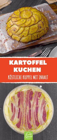 In dieser Genuss-Kuppel mit Kartoffeln wird alles geschichtet, was lecker ist! #rezept #rezepte #kartoffel #kuchen #auflauf #kuppel #schichten #lagen #goldsteig #käse #emmentaler #bacon #sahne