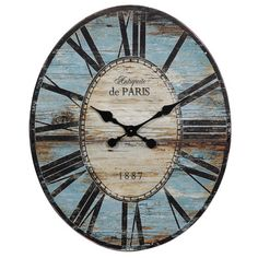 The Creative Co-Op Oversized Wall Clock is an oval shaped vintage style clock that adds elegance and charm to your room. It is a beautiful wall accent tha...
