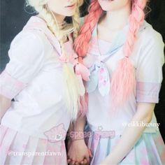 S/M/L Pink/Blue Pastel Sakura Cherry Blossom Seifuku Top SP140831 - SpreePicky  - 2
