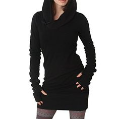 Women's Athletic Hoodies - Hengzhi Womens Pencil Slim Dress with Thumb Hole Long Sleeve Hooded Bodycon Top -- Read more reviews of the product by visiting the link on the image.