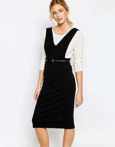 Image 1 of New Look V Neck Pinafore Dress