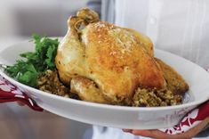 If you& not keen on turkey for Christmas, this roast chicken has a delicious festive stuffing and makes a fabulous main for the big event. Roast Chicken Recipes, Lamb Recipes, Lunch Recipes, Cooking Recipes, Savoury Recipes, Free Recipes, Christmas Stuffing, Christmas Roast, Winter Christmas