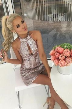 Cheap Substantial Party Dress Backless Sheath Halter Backless Short Pink Sequined Homecoming Cocktail Dress With Keyhole Sexy Outfits, Sexy Dresses, Short Dresses, Fashion Outfits, Tight Dresses, Women's Fashion, Formal Dresses, Blonde Lace Front Wigs, Blonde Wig