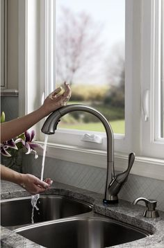 Brilliant way to keep from spreading germs! Touch on/off Delta Stainless 1-Handle Pull-Down Sink/Counter Mount Kitchen Faucet
