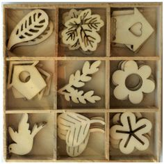 Wood Die Cuts - Laser Cut - Flowers - Birdhouses - Bird - Leaves - Embellishments - Wooden Box - 45 pcs
