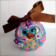 Bubble  Polymer Clay Owl Ornament w/ Ribbon by TheNakedPeacock, $14.95