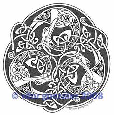 Triskel 4 by twistedstrokes on DeviantArt Viking Designs, Celtic Knot Designs, Celtic Symbols, Celtic Art, Celtic Dragon, Celtic Knots, Norse Tattoo, Celtic Tattoos, Art Viking