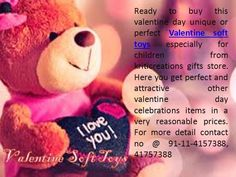 Celebrate this valentine day by lots of valentine gifts items like, Valentine soft toys, Valentine teddy, Valentine balloon and all valentine decorations items by Kriticreations http://www.kriticreations.com/page.php?pr=Valentine%20Soft%20Toys&rk=NzUx&catid=NzU=