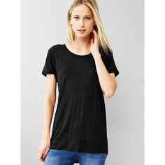 Gap Linen Tee ($30) ❤ liked on Polyvore featuring tops, t-shirts, regular, true black, gap tops, gap tees, black top, black t shirt and short sleeve tees