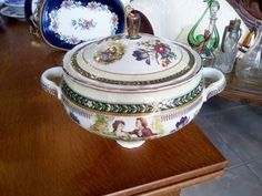 Vintage Limoges Porcelain hand painted soup bowl