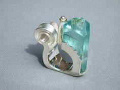 """Aquamarin-Ring, Silber, GotikART, """"Hochzeitsring"""" von Formgebung-Schmuck Iris Thönes auf DaWanda.com"""