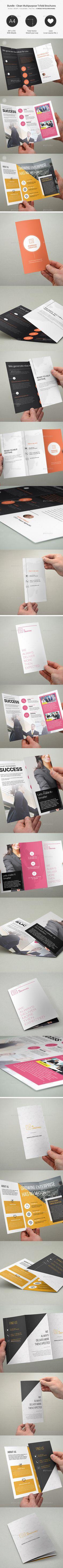 Bundle - Multipurpose Trifold Brochures PSD Template #design Download: http://graphicriver.net/item/bundle-multipurpose-trifold-brochures-20/13081156?ref=ksioks