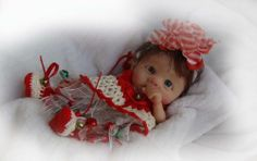 OOAK Polymer clay Original Hand Sculpted MINI CHRISTMAS BABY GIRL ~TRice