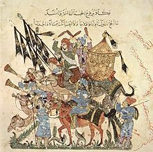 A 13th-century book illustration produced in Baghdad by al-Wasiti showing a group of pilgrims on a hajj