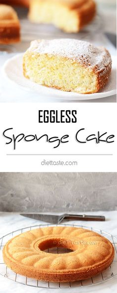 Eggless Sponge Cake – soft, spongy, springy, moist and sooo delicious, you won't believe there are no eggs in the recipe! y Postres Eggless Desserts, Eggless Recipes, Eggless Baking, Baking Recipes, Dessert Recipes, Eid Recipes, No Egg Desserts, Donut Recipes, Eggless Sponge Cake