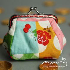 Sew Cherry scrappy coin purse