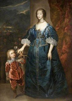 Henrietta Maria and Sir Jeffrey Hudson Court Dwarf with His Pet Monkey Anthony van Dyck 17th Century Clothing, 17th Century Fashion, Monkey Art, Pet Monkey, Historical Costume, Historical Clothing, Henrietta Maria, House Of Stuart, Anthony Van Dyck