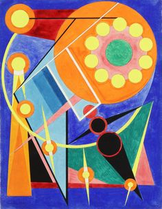 LE SOLEIL ET LES PLANETES, 1941.  Auguste HERBIN (1882 - 1960):  Using elementary, pure colour forms that made no reference to objects, space or movement, Herbin turned to a definitively abstract approach as early as 1926. The resulting images are characterized by subtle balance and a strong tension between the forceful and cheerful palette on the one hand and the consummate abstraction of the objects on the other.