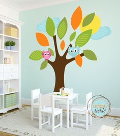 Kids Wall Decal, Tree Decal, Big Lush Leaves, Large Decal, Play Room Wall Decal, Nursery Decor, baby Gift, Owls and Tree. $98.00, via Etsy.