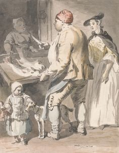 Paul Sandby, 1731-1809, British, London Cries: A Fishmonger, ca. 1759, Watercolor and graphite on medium, cream, slightly textured laid paper, Yale Center for British Art, Paul Mellon Collection