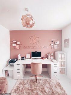 Room Design Bedroom, Room Ideas Bedroom, Home Room Design, Home Office Design, Sewing Room Design, Craft Room Design, Girl Bedroom Designs, Cozy Home Office, Home Office Decor