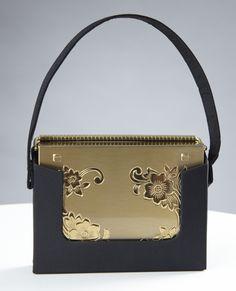 Volupte Gold Compact Purse w Black Silk Faille Case