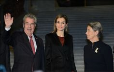 Queens & Princesses - Queen Letizia on his first official visit abroad solo in Vienna, Austria, to inaugurate an exhibition on Velasquez.