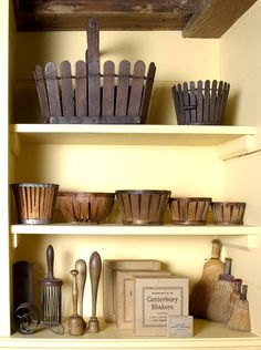 Shaker picket fence baskets, berry baskets, kitchen tools, brushes.