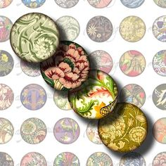 Foliage in Art (4) Digital Collage Sheet - Art Nouveau, Deco, Rococo & more - 48 different Circles 1inch 25mm or smaller